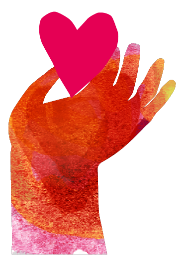 Hand håller hjärta